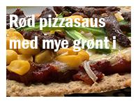 Rød pizzasaus med mye grønt i